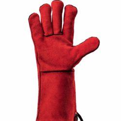 Feuermeister Premium BBQ Grillhandschuhe aus Spaltleder Rot